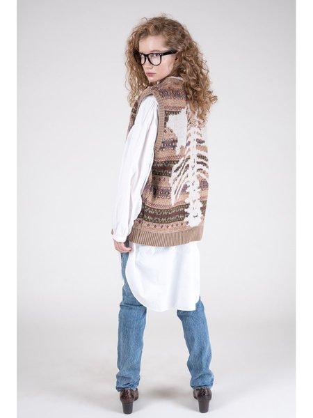 Kapital 7G Wool FairIsle BONE Vest - Mocha