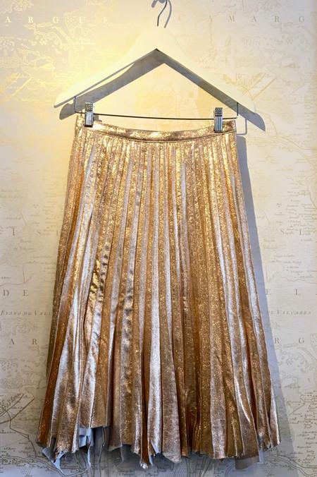 Manoush Rose Gold Pleated Leather Skirt