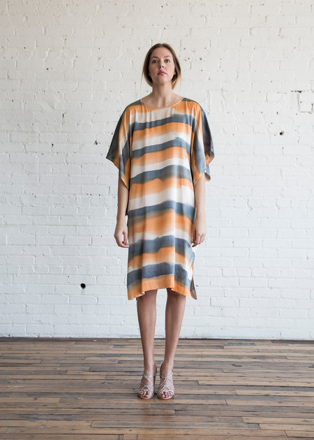 Raquel Allegra Kimono Sleeve Dress Champagne Tiger