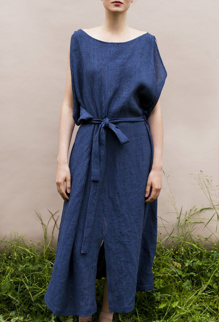 Sunja Link Linen Draped Dress