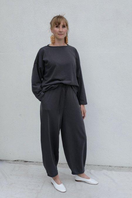 Black Crane Cotton Terry Wide Pants - Asphalt