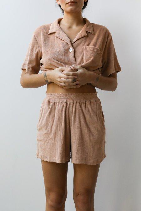 at Dawn. Terry Easy Shorts - Mari Gold /Tan/ Lavender