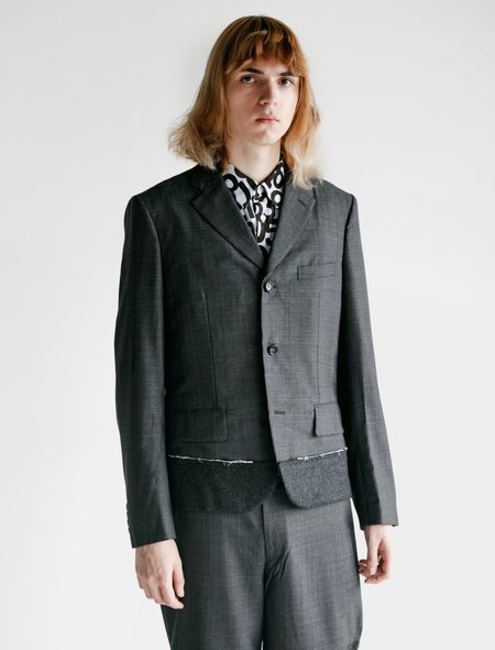 Comme des Garcons Wool Tropical Check Flannel Jacket - Charcoal