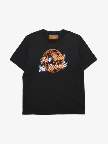 PRE-LOVED Heron Preston Male Planet Printed T-shirt - BLACK