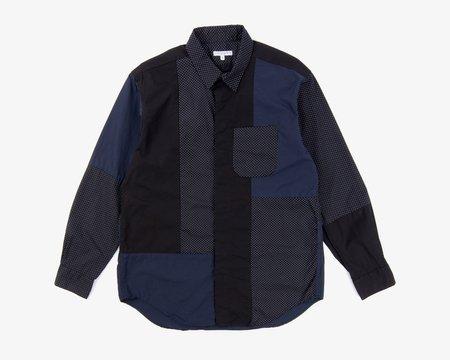 Engineered Garments Combo Short Collar Shirt - Black/White Micro Polka Dot