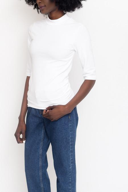 Just Female Pop Neck Blouse / White