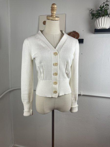 [Pre-Loved] White + Warren Cotton Button Front Cardigan - White
