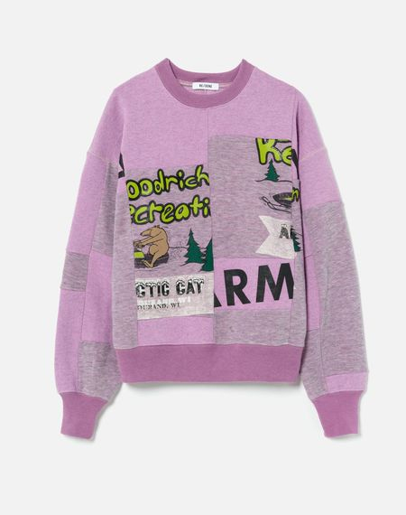 RE/DONE 80s Upcycled Patched Sweatshirt - Heathered Blossom