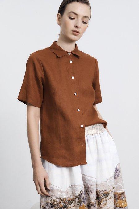 Milk & Thistle Linen Campus Shirt - Toffee