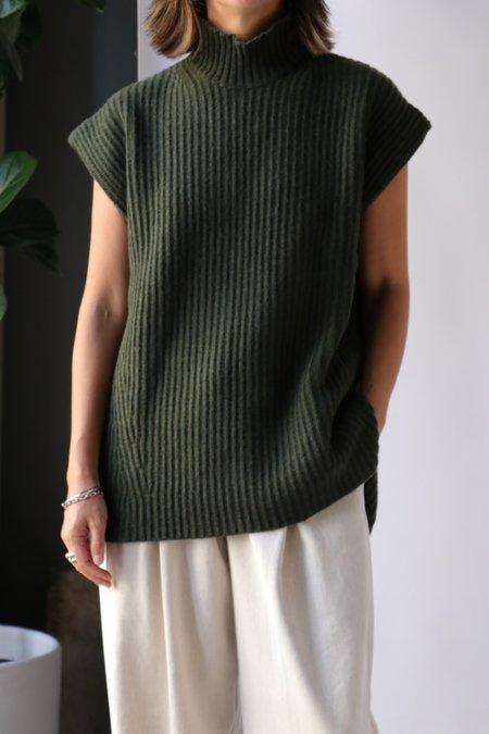 Ganni Recycled Wool Vest - Dark Green