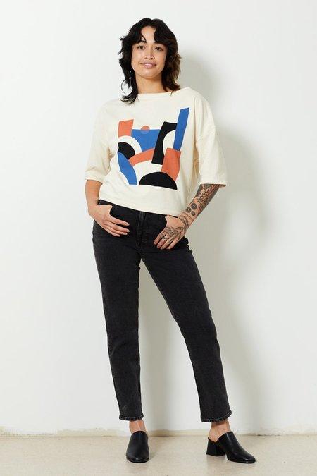 North Of West Cameron Organic Short Sleeve Sweatshirt - Natural/Sunrise Print