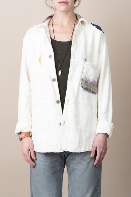 Kapital Heavy Flannel Check Shirt In Ecru