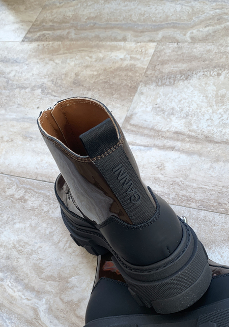 Ganni Patent Zip Boot - Mole