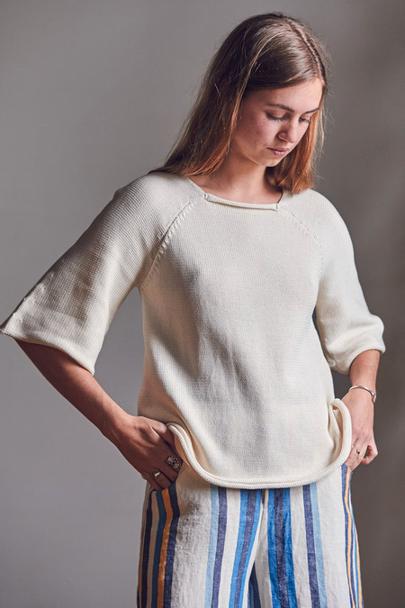 Wol Hide Bell Pullover Cotton Knit Top Ecru