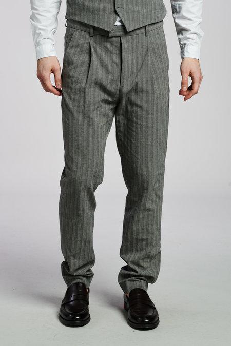 Delikatessen Italian Structural Crepe Trousers - Grey/Blue Stripe
