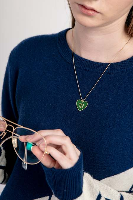 MATTER MATTERS Fuck Yes Necklace - Forest Green