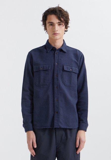 Wood Wood Avenir Stripe Flannel Shirt - navy
