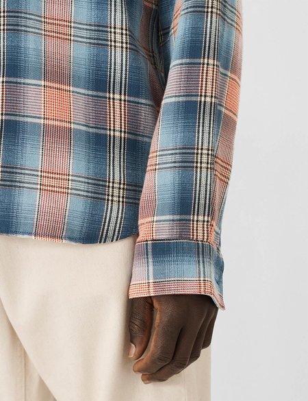 YMC Curtis Shirt Brushed Twill - Blue/Orange