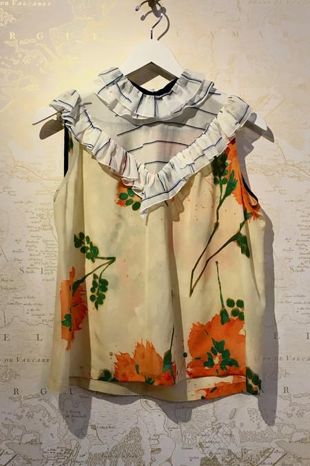 Roseanna Stripe Ruffle Front Floral Sleeveless Blouse