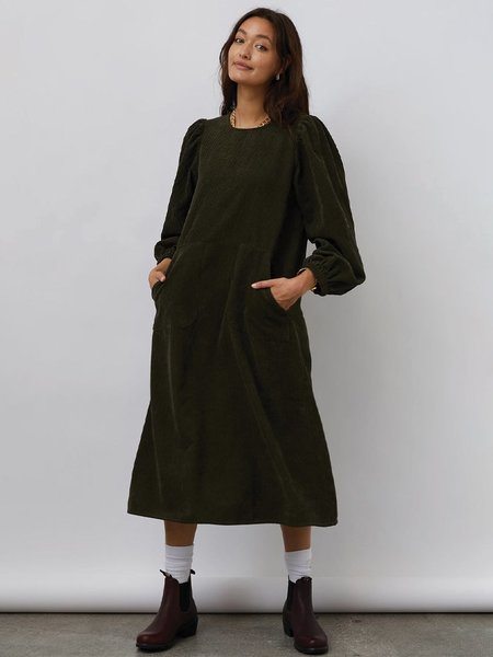 Lolly's Laundry Lucas Cord Dress - Dusty Green