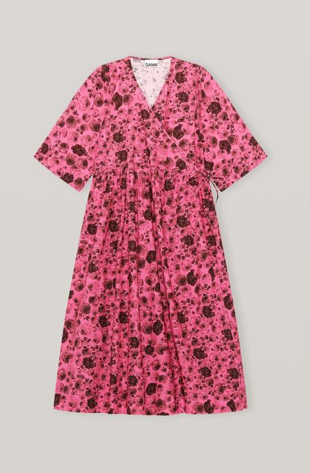 Ganni Oversize Wrap Dress - Pink Floral