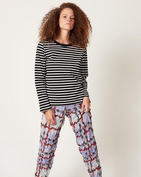 ICHI ANTIQUITES Border Pullover - Black/Natural Stripe