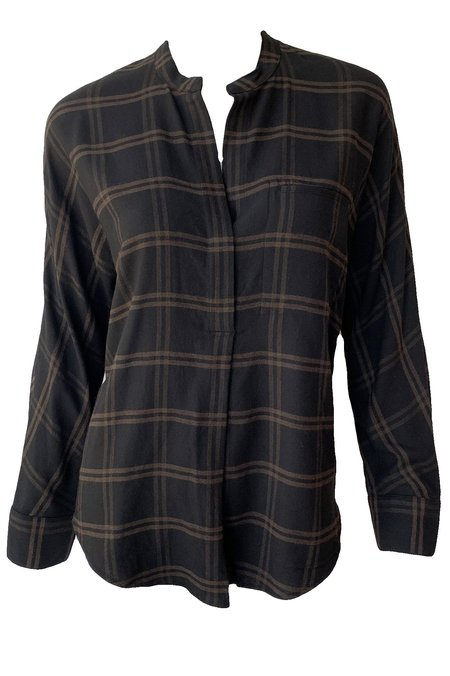 VINCE Shadow Plaid Band Collar Pullover - Black