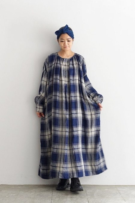 ICHI ANTIQUITES Linen Indigo Herringbone Dress