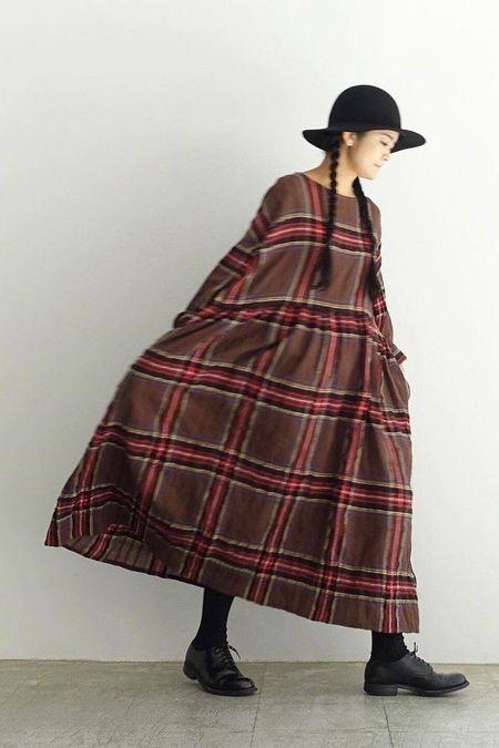 ICHI ANTIQUITES Wool Tartan Volume Dress - Brown