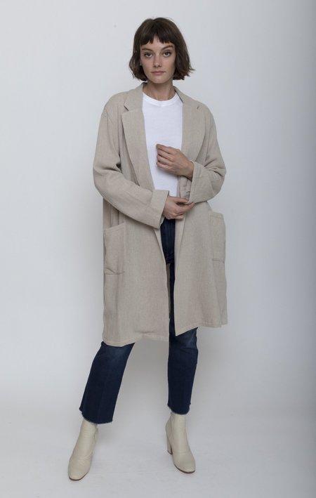 ICHI ANTIQUITES Long Woven Jacket - Natural