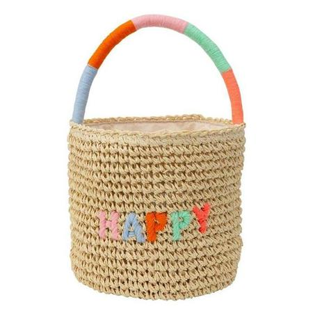Kids Meri Meri Happy Straw Bag - Multicolour