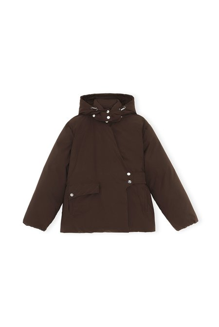 Ganni Soft Tech Puff Jacket - BROWN