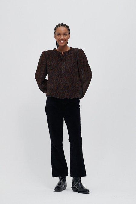 Ganni Pleated Georgette Blouse - Brown/Black