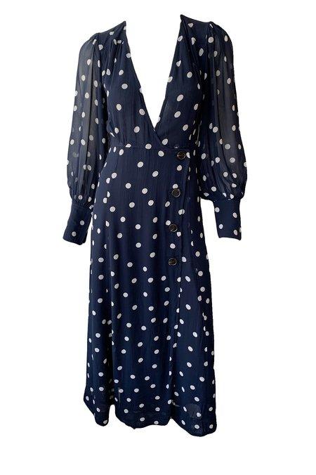 Ganni Printed Georgette V-Neck Dress - Sky Captain