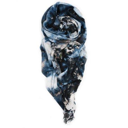 Fig & Belle Gouache Raw Fringed Scarf - Blue/Black