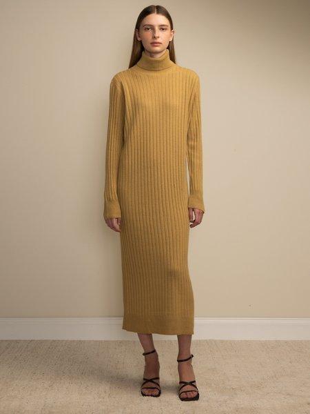 PURECASHMERE NYC Rib Turtleneck Maxi Dress - Golden Leaf