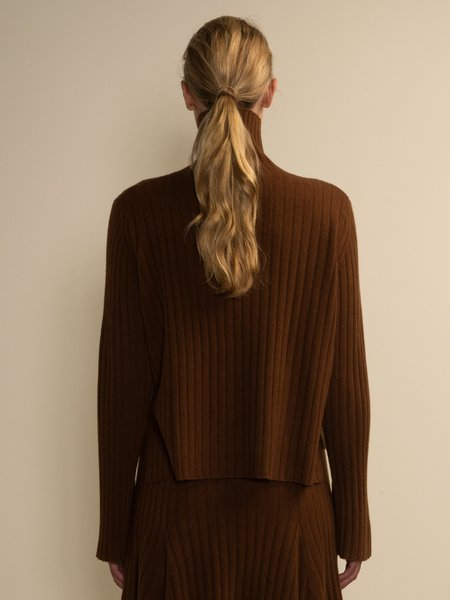 Turtleneck Rib Sweater - Deep Camel