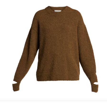 Tibi Boucle Alpaca Slit Cuff Pullover - Dark Loden
