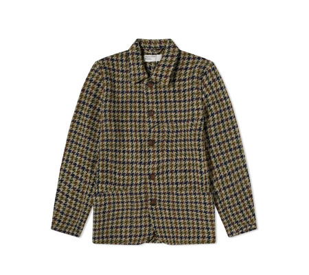 Universal Works  Recycled Tweed Long Bakers Jacket V3 - Olive