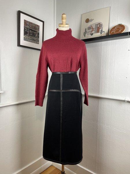 [PRE-LOVED]  DKNY Wool & Leather Midi Skirt - BLACK