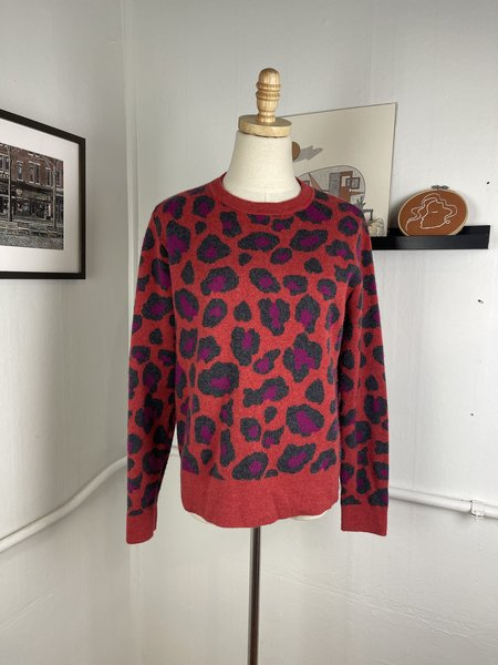 [PRE-LOVED] Kinross Cashmere Leopard Crew Neck Sweater -Red