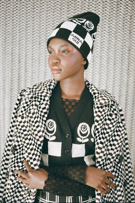 Checkered Knit Mesh Top - Black