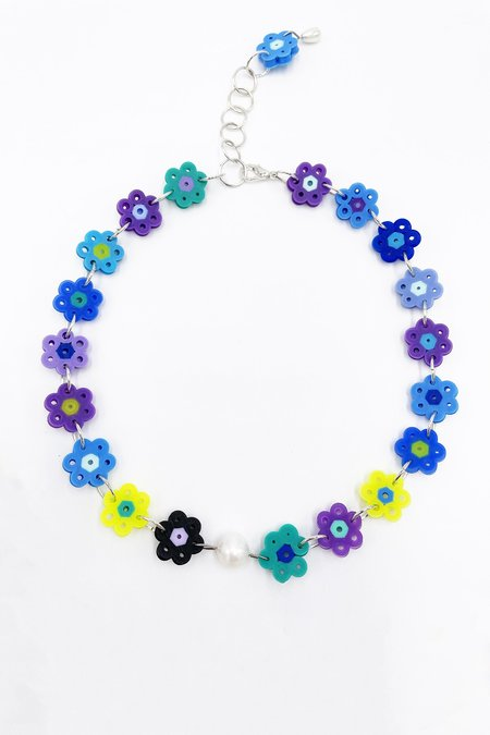 Daisy Chain Choker Necklace - Blue