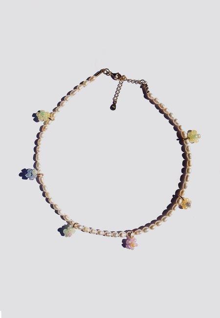 Ninfa Handmade Beads & Pearl Flowers Necklace - multi