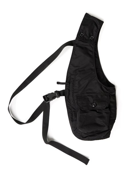 Engineered Garments Flight Satin Nylon Shoulder Vest - Black