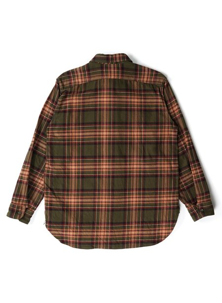 Engineered Garments Cotton Twill Plaid Work Shirt - Olive/Brown