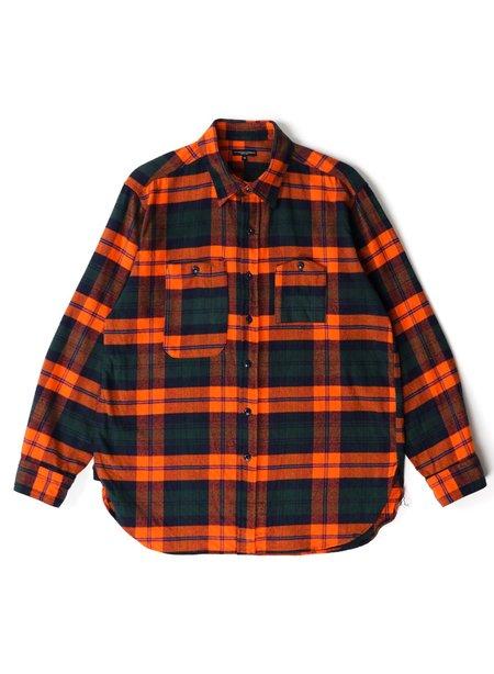 Engineered Garments Cotton Twill Plaid Work Shirt - Orange/Navy/Green