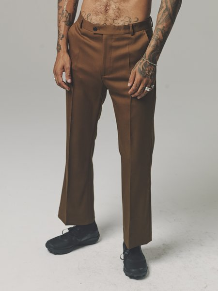 CMMN SWDN Wool Ryle Bootcut Trousers - Brown