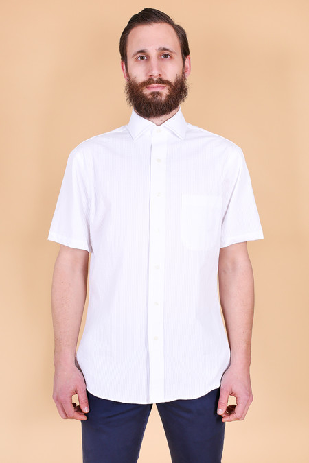 Vert & Vogue Tonal seersucker button up in white