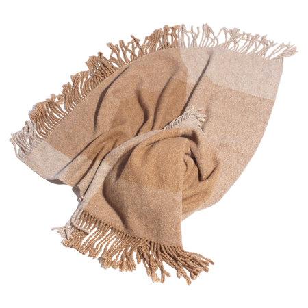 Lauren Manoogian Handwoven Plaid Blanket - Camel Combo